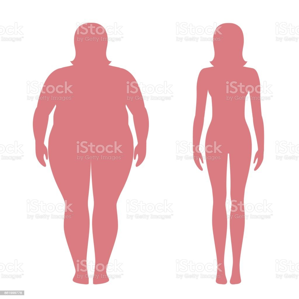 Vector illustration of fat and slim woman silhouettes. Weight loss concept. Obese and normal female body. vector art illustration