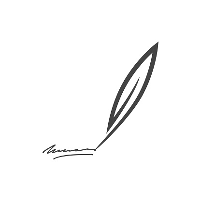 Vector illustration of feather and signature