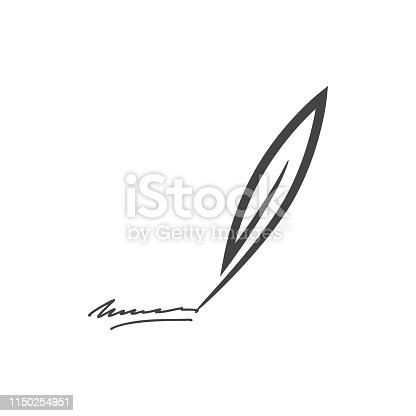 Vector illustration of feather and signature.