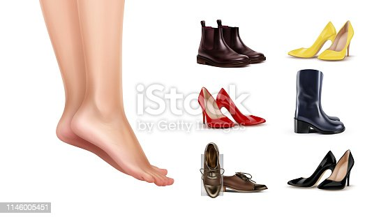 Vector illustration of female feet standing on finger toes and collection of different shoes on white background