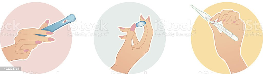 Vector illustration of Female hands hold a medical objects royalty-free stock vector art
