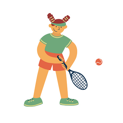 Vector illustration of female tennis player with racquet and ball