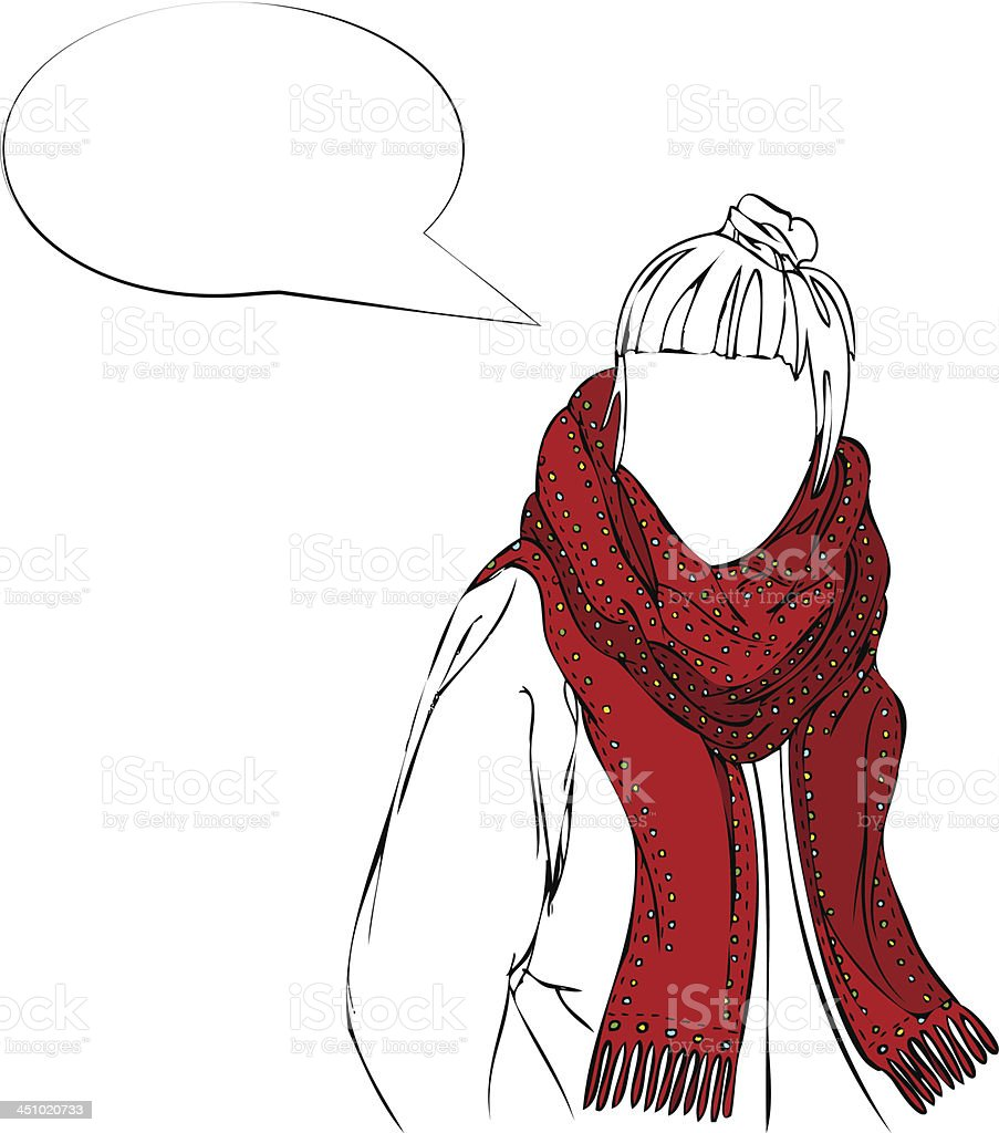Vector Illustration of Female Wearing Red Scarf with Speech Bubble royalty-free stock vector art