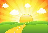 Vector illustration of field, tree and sunrise sky. EPS 10