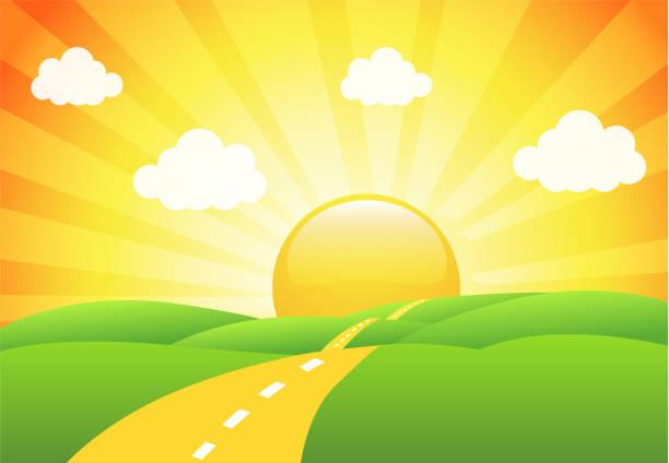 vector illustration of field, tree and sunrise sky - sunrise stock illustrations, clip art, cartoons, & icons
