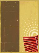 Vector illustration of Fireworks on grungy paper