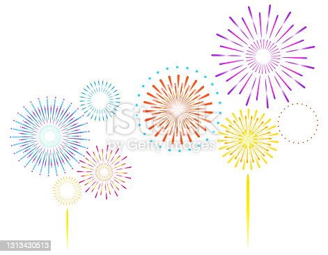 istock Vector illustration of fireworks. 1313430513