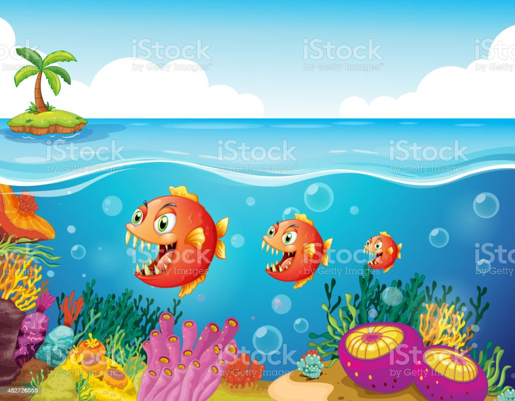 Vector illustration of fish and coral reef vector art illustration