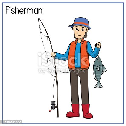 Vector illustration of fisherman isolated on white background. Jobs and occupations concept. Cartoon characters. Education and school kids coloring page, printable, activity, worksheet, flashcard.