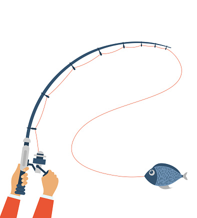 Vector illustration of fishing concept. Fly fishing concept on the white background in flat style.