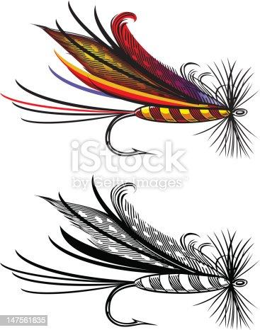 Vector illustration of fishing fly