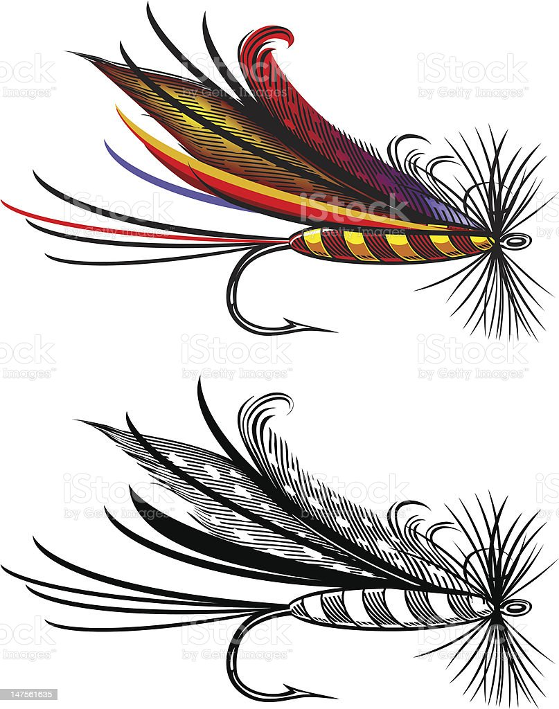 Vector illustration of fishing fly vector art illustration