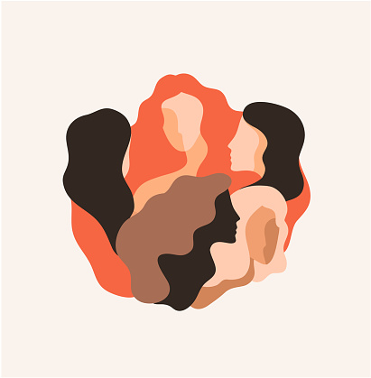 Vector illustration of five women standing, socializing together. Poster, banner, card. Women's friendship, union of feminists or sisterhood concept