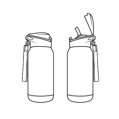 Vector illustration of flask isolated on white background. Black and White for coloring. School things and accessories concept. Education and school material, kids coloring page, printable, activity, worksheet, flash card.