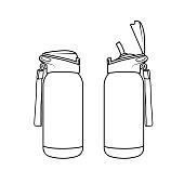 istock Vector illustration of flask isolated on white background. Black and White for coloring. School things and accessories concept. Education and school material, kids coloring page, printable, activity, worksheet, flash card. 1319337509
