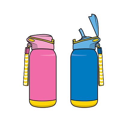 Vector illustration of flask isolated on white background. School things and accessories concept. Education and school material, kids coloring page, printable, activity, worksheet, flash card.