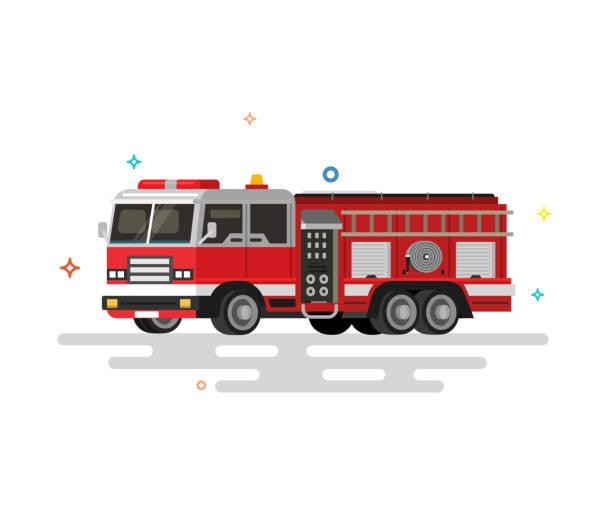 Vector illustration of flat fire engine. Colorful illustrations. fire engine stock illustrations
