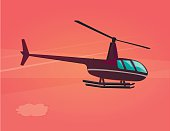 Vector illustration of flat helicopter