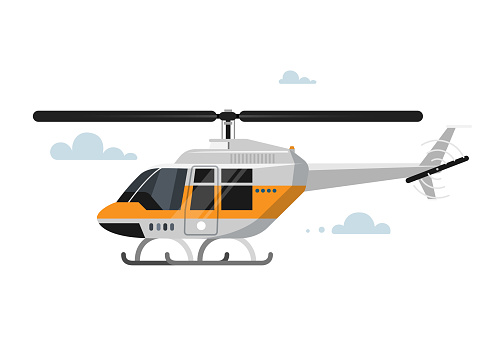 Vector illustration of flat helicopter.
