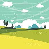 Vector Illustration Of Flat Landscape