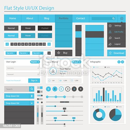 A series of flat style UI/UX design menus is displayed on a white background in a variety of shades of blue, black, gray and white.  There are individual menus denoting user information, login, profiles, info graphics and a wide variety of other user interface information.  A pie graph, a line graph and a bar graph all sit near the bottom right, displaying monthly information related to the text.  A banner on the top row of the image says