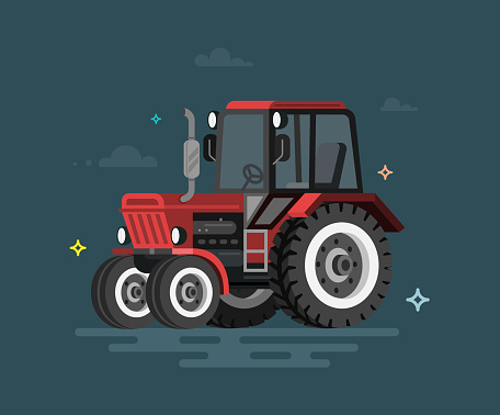 Vector illustration of flat tractor