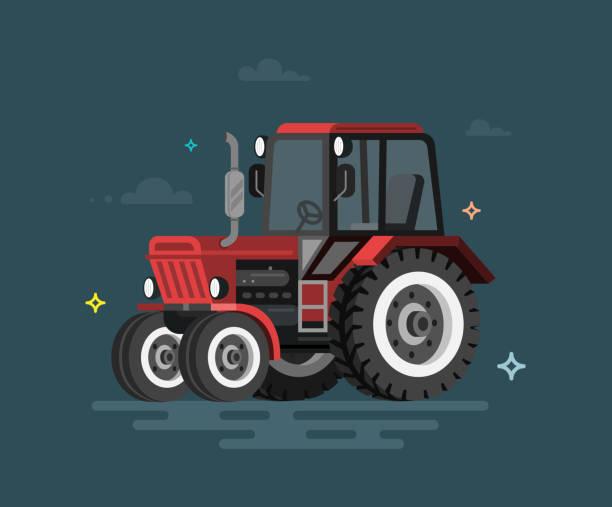 illustrazioni stock, clip art, cartoni animati e icone di tendenza di vector illustration of flat tractor - trattore