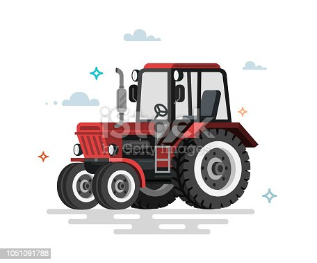 Vector illustration of flat tractor. Colorful illustration.