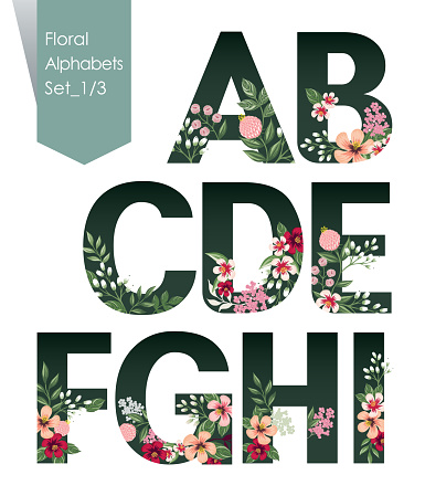 Vector illustration of floral alphabets collection. A set of beautiful flowers and alphabets for wedding, invitations and birthday cards.