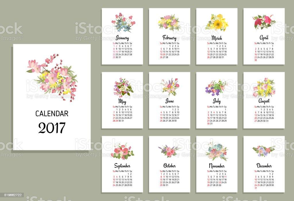 Ilustración de vectores de flores calendario de 2017 - ilustración de arte vectorial