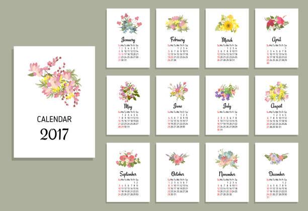 Vector illustration of floral calendar 2017 vector art illustration