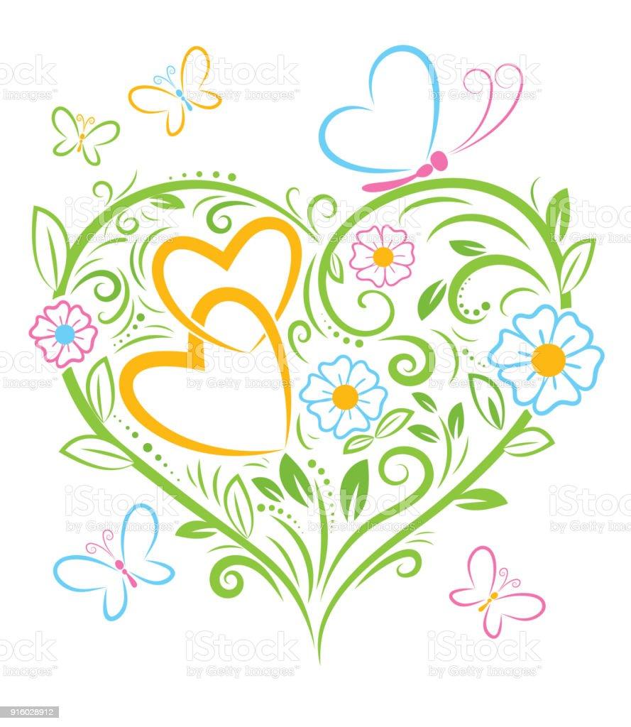 Ilustración de Ilustración De Vector De Color Floral San Valentín ...