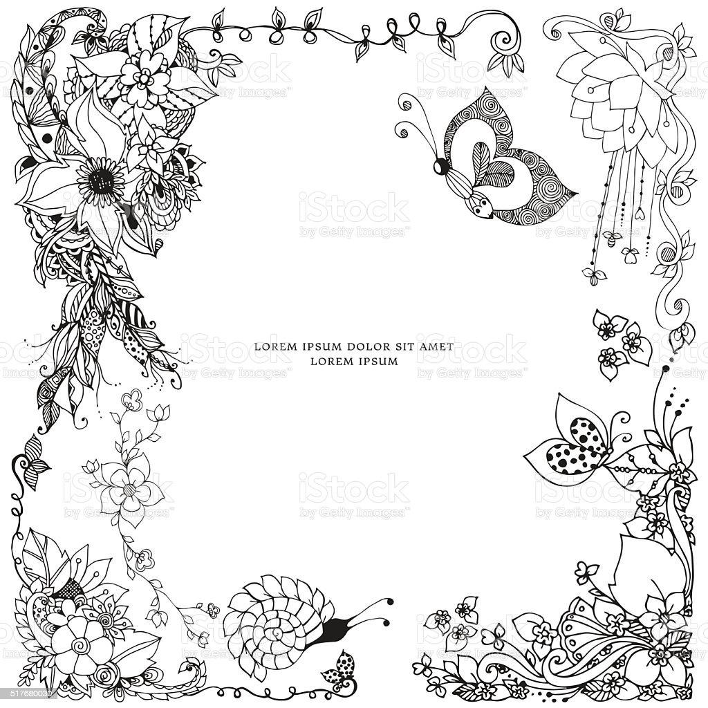 Vetores De Ilustracao Vetorial De Quadro Floral A Rabiscar Rabisco