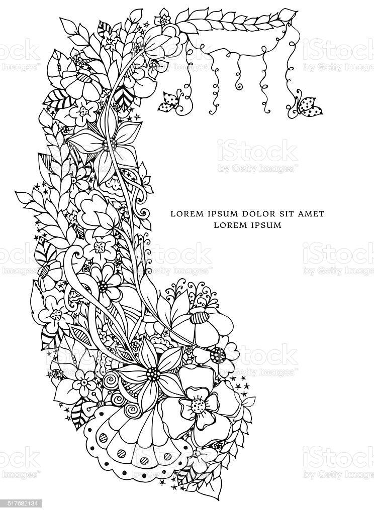 Ilustracao Vetorial De Moldura Floral A Rabiscar Doodle De Flores