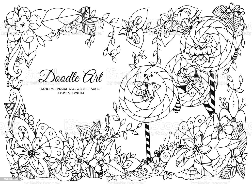 Vector illustration of floral frame. Dudlart. Coloring book anti stress royalty-free vector illustration of floral frame dudlart coloring book anti stress stock vector art & more images of adult