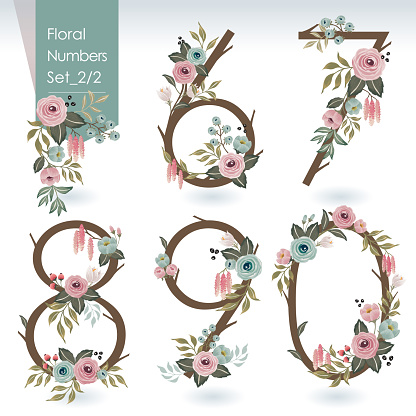 Vector illustration of floral numbers collection. A set of flowers and numbers for wedding, anniversary, birthday and party.
