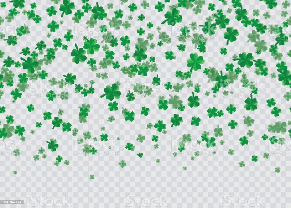 Vector illustration of floral seamless border with four leaved green clover vector art illustration