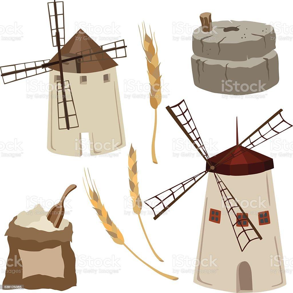 vector illustration of flour mills vector art illustration