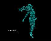 Vector illustration of flying beautiful woman.