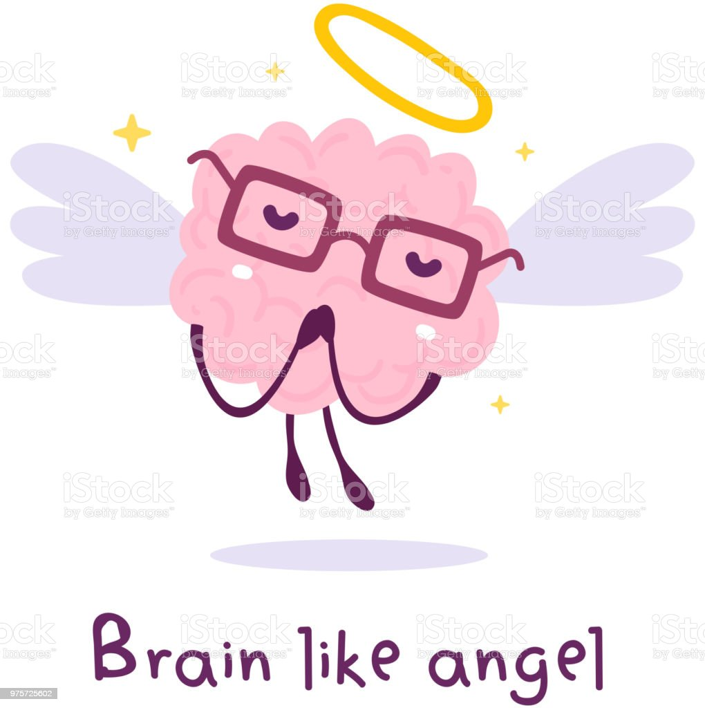Vector Illustration Of Flying Pink Color Smile Brain With Glasses ...