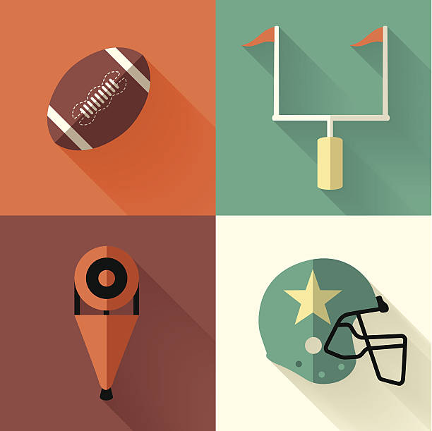 ilustrações de stock, clip art, desenhos animados e ícones de ilustração vetorial de símbolos de futebol - primeiro down futebol americano