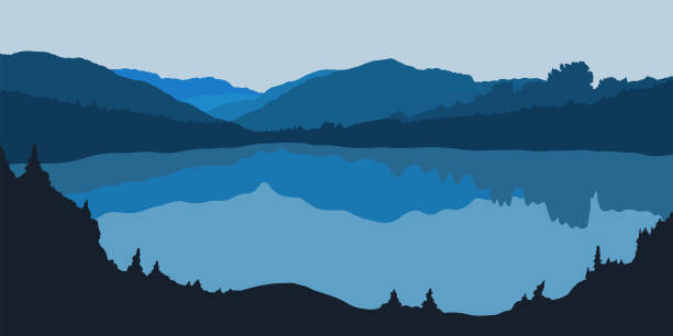 Vector illustration of forest panorama silhouette with lake Vector illustration of forest panorama silhouette with lake. Detailed mountain landscape. Background for postcard lake stock illustrations