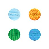 Vector illustration of four elements isolated into round shape. Water, fire, ground, wind