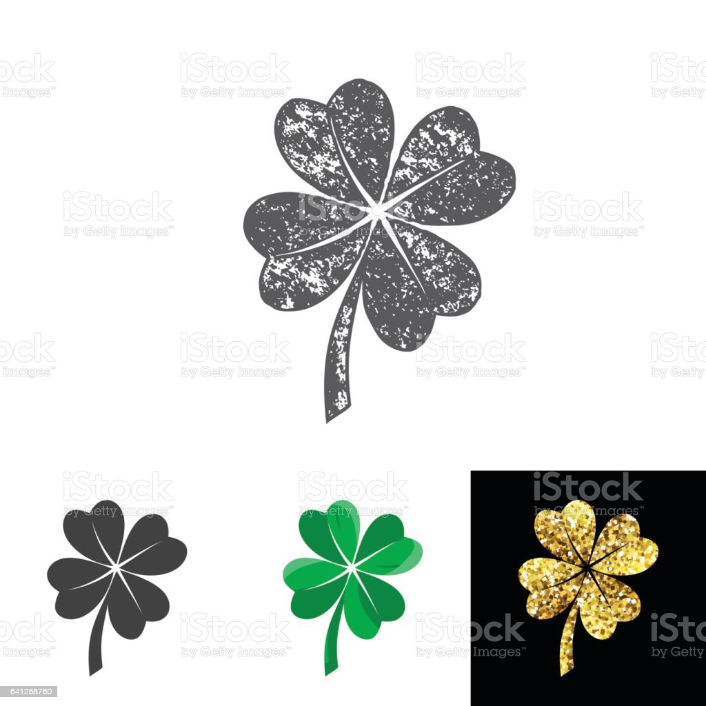 Vector illustration of four leaved clover set for saint Patricks day greeting vector art illustration