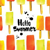 Colorful watercolor background with ice cream on a stick. Sweet popsicle.