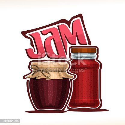 Vector illustration of fruit Jam, poster with rustic pot of raspberry jelly with paper cover and twine tied in bow, tall jar of strawberry marmalade, original typeface for word jam on white background