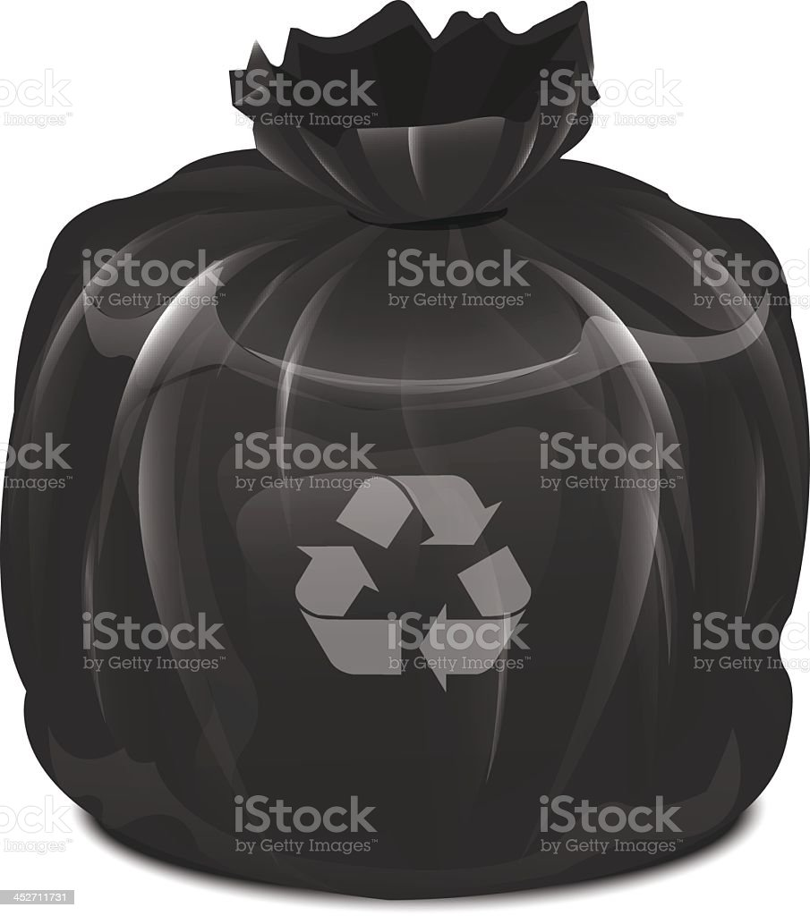 Vector illustration of full garbage bag with recycle symbol vector art illustration