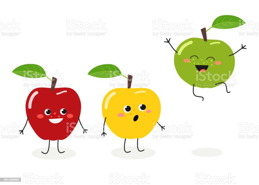 Vector illustration of funny cartoon apples isolated on white background vector art illustration