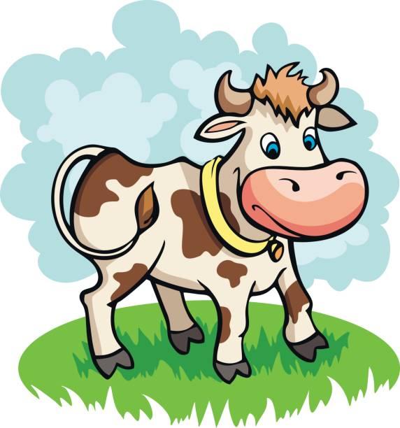 vektor-illustration von lustigen comic kuh grasen auf einer wiese - lustige kuh bilder stock-grafiken, -clipart, -cartoons und -symbole