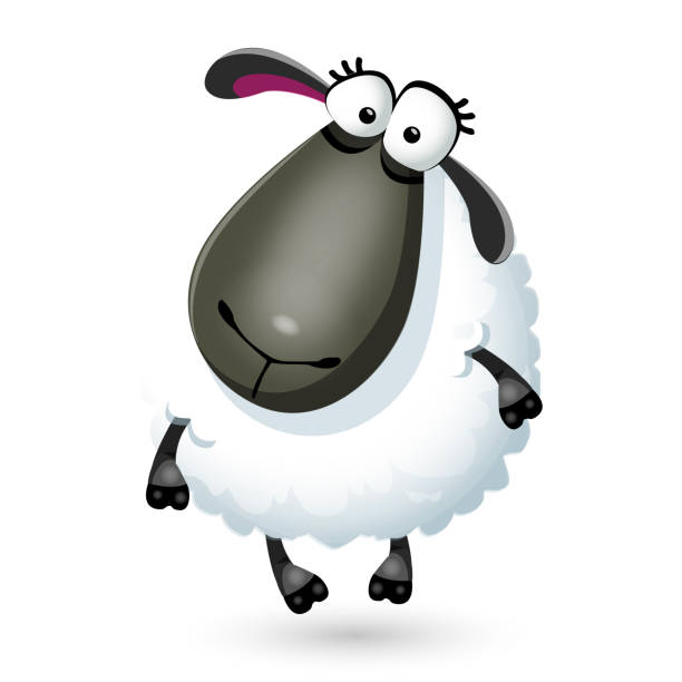 Vector illustration of funny cartoon sheep character on white Vector illustration of funny cartoon sheep character careless stock illustrations